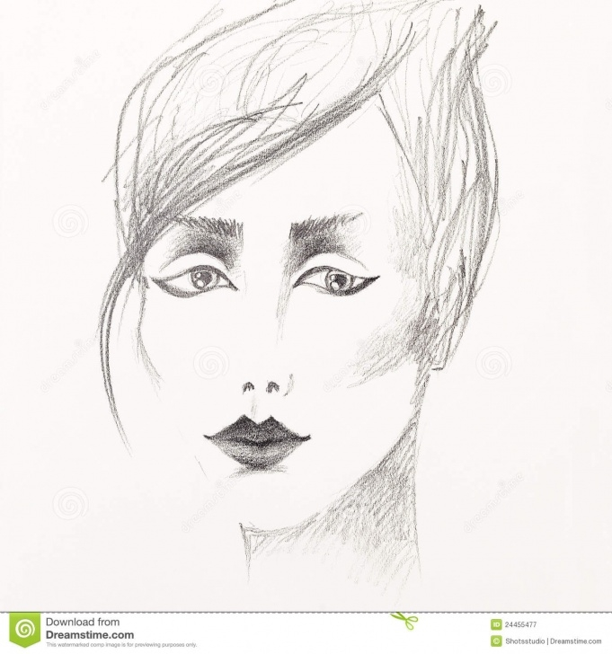 Popular Pencil Sketch Of Woman Face Tutorials Pencil Sketch Of Beautiful Woman's Face Stock Image - Image Of Image