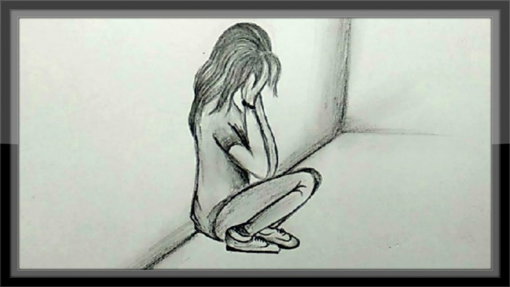 Popular Pencil Sketches Of Sad Girl Easy Cool Easy Drawings - Pencil Drawing A Sad Girl Picture Easy Pictures