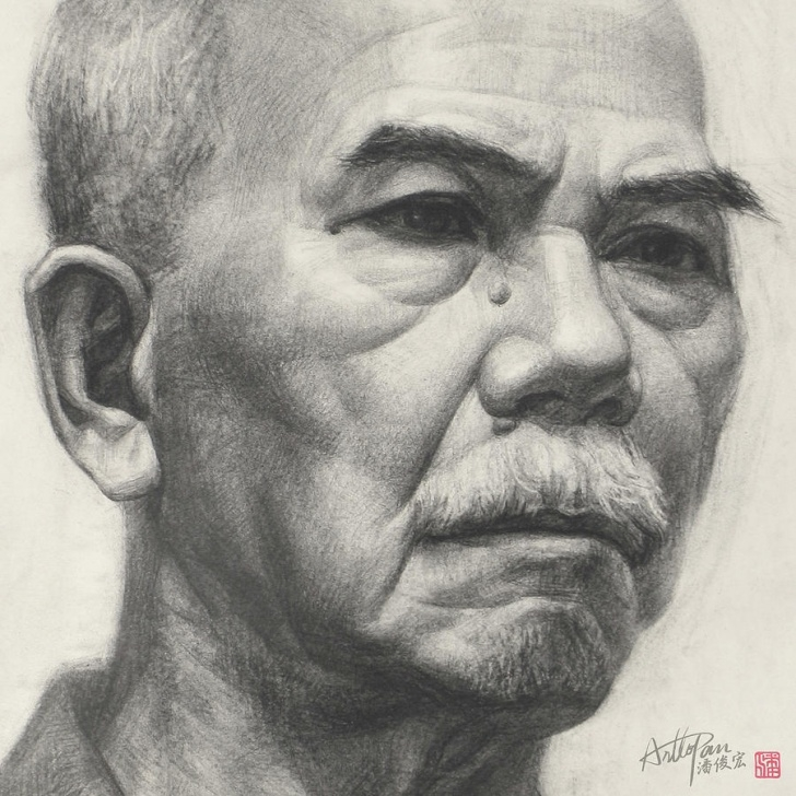 Popular Realistic Pencil Art Easy Old Man's Head Portrait-Part-Arttopan Drawing-Portrait Realistic Carbon  Pencil Sketch By Artto Pan Photo