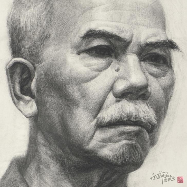 Popular Realistic Pencil Art Easy Old Man's Head Portrait-Part-Arttopan Drawing-Portrait Realistic Carbon  Pencil Sketch By Artto Pan Photo
