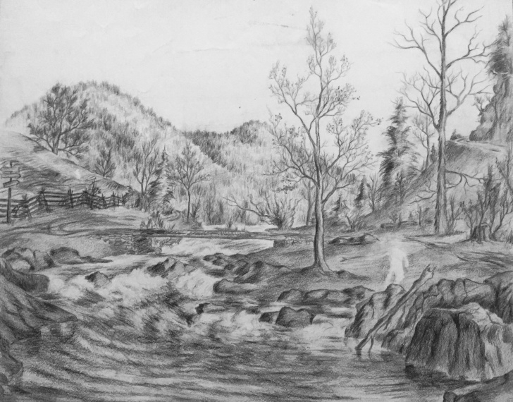 Popular River Pencil Drawing Techniques for Beginners Mountain River: Original Unfinished Pencil Drawing On Paper 1930S Pic