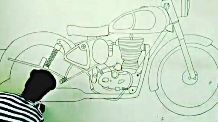 Popular Royal Enfield Pencil Sketch Techniques Royal Enfield Drawing On Wall With In 1Minute Picture