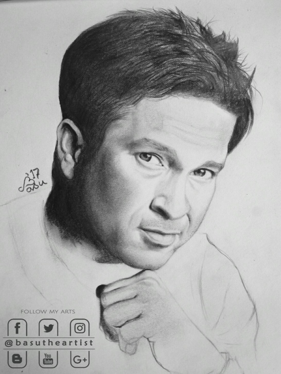Popular Sachin Tendulkar Pencil Sketch Courses Sachin Tendulkar Pencil Sketch Step By Step - Basudev Patra Image