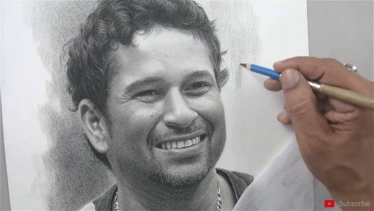Popular Sachin Tendulkar Pencil Sketch Simple Happy Birthday Sachin Tendulkar - Pencil Art By Sadashiv Sawant Pic