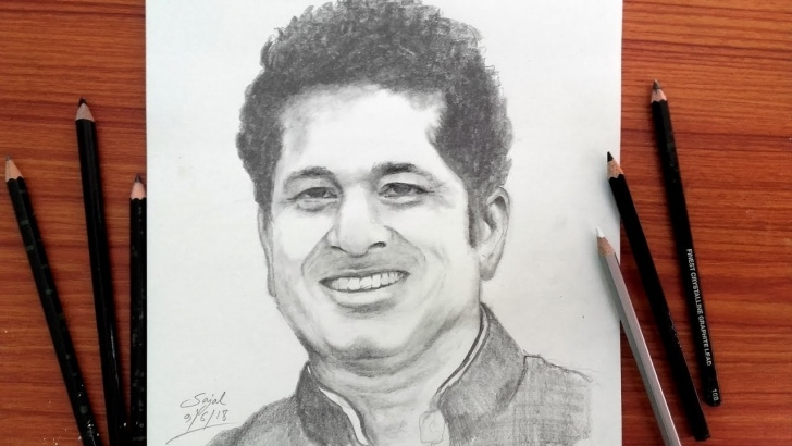 Popular Sachin Tendulkar Pencil Sketch Tutorials Drawing Sachin Tendulkar / Easy Pencil Sketch / Banglar Art Pic