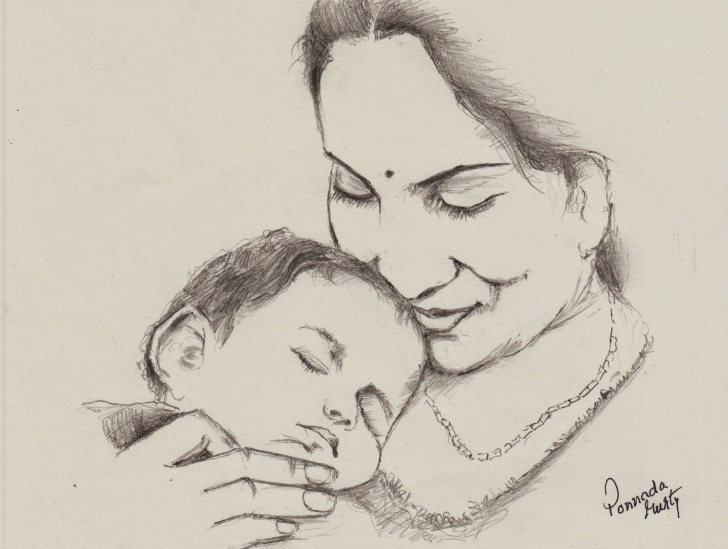 Popular Simple Pencil Drawings Of Mother And Baby Free Indian Mother - Pencil Sketch - Happy Mother's Day | Crtezi In 2019 Pictures