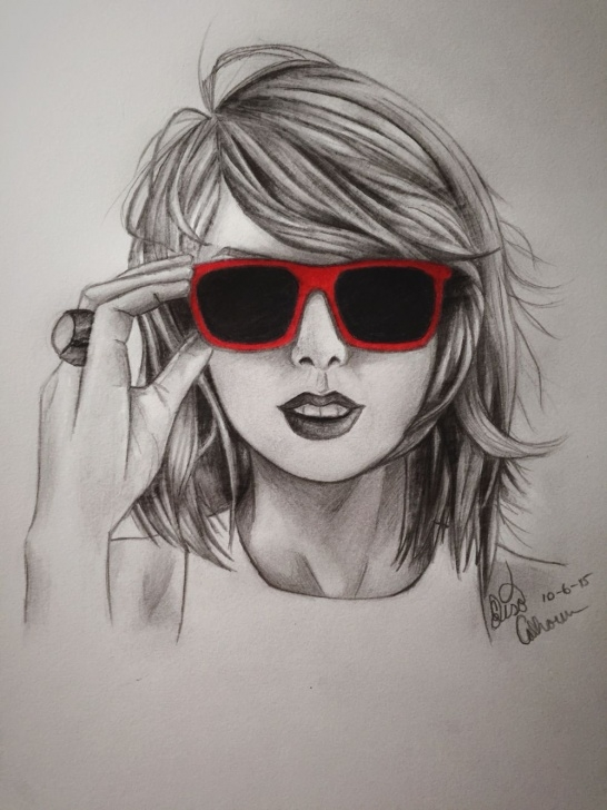 Popular Taylor Swift Pencil Sketch Tutorial Taylor Swift Drawing, Pencil, Sketch, Colorful, Realistic Art Images Images