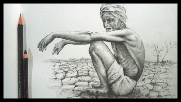 Remarkable Agriculture Pencil Drawing Easy Drawing Dry Land And Old Farmer   Pencil Sketch   Banglar Art Images