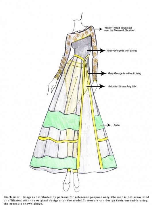 Remarkable Anarkali Dress Pencil Sketch for Beginners Menlo Park | Indian Wear Sketches! :) | Dress Design Sketches Image
