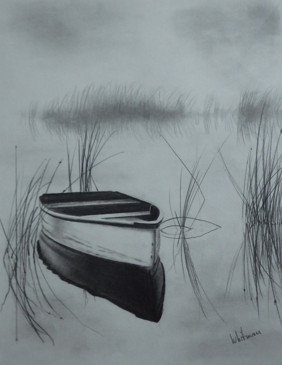 Remarkable Boat Pencil Drawing Techniques Misty Row Boat On The Lake, Reflections, Sketch. Original Art Photo