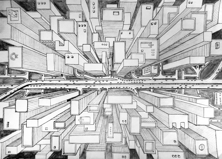 "Remarkable City Pencil Drawing Simple Unknown City, Pencil Drawing, 8.27 × 11.7"" (A4) : Art Picture"