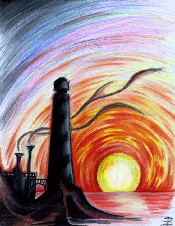 Remarkable Colored Pencil Sunset Easy Lighthouse At Sunset (Colored Pencil) | Darkitecture | Pencil Photos