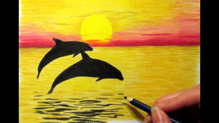 Remarkable Colour Shading Drawing Of Scenery Simple Landscape In Colored Pencil: Sunset And 2 Dolphins Drawing Nature Scenery  Sky Sea Photo