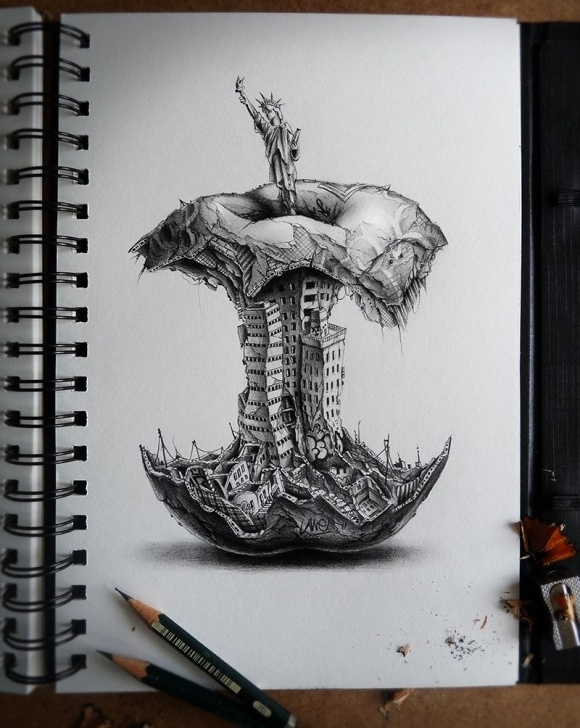 Remarkable Creative Pencil Sketches Lessons Mind-Blowing Graphite Pencil Doodles And Sketches By French Artist Pic