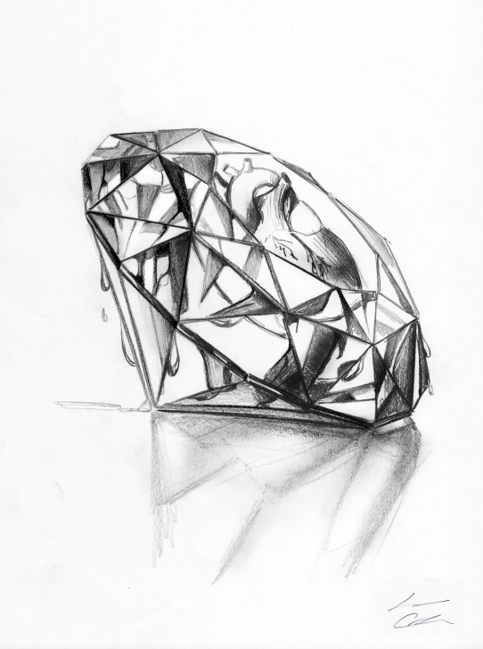 Remarkable Diamond Pencil Drawing Techniques for Beginners Heart Inside A Diamond, Sketch Made With Pencil. Sometimes We Need Images