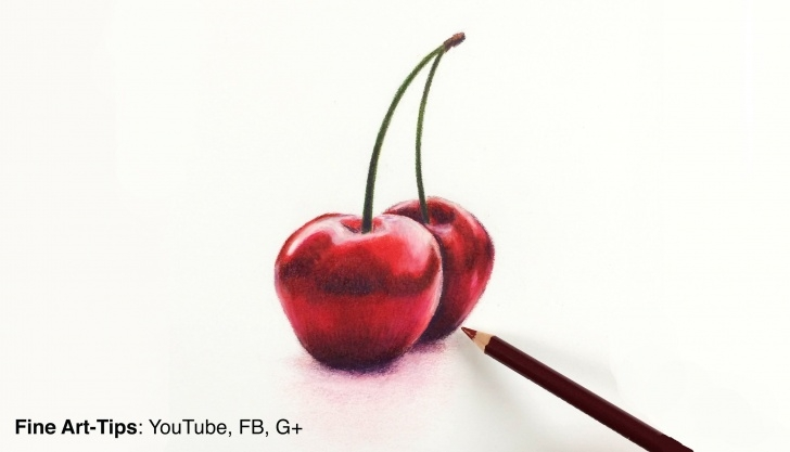 Remarkable Drawing Fruit With Colored Pencils Tutorials Drawing Fruits:how To Draw Cherries With Color Pencils- Fine Art Photo