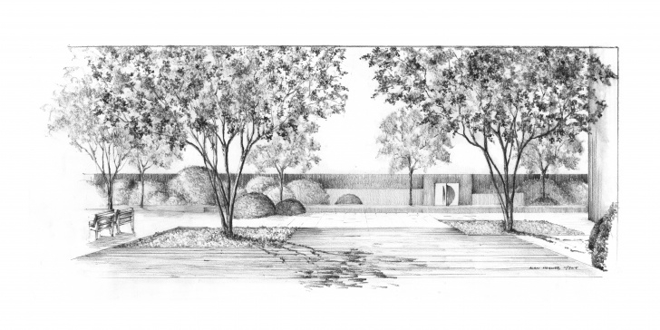 Remarkable Garden Pencil Drawing Techniques for Beginners Garden Pencil Sketch And Long Island Garden, View From The Terrace Pic