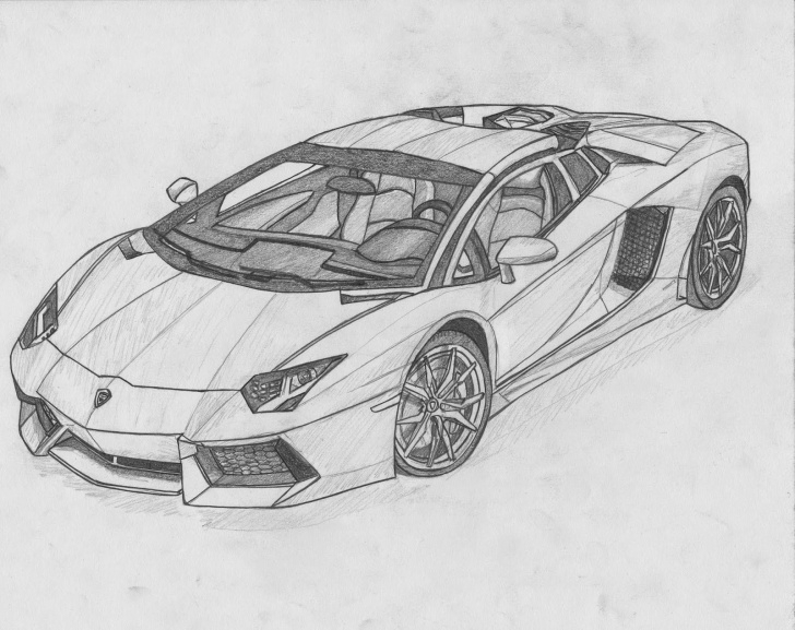 Remarkable Lamborghini Pencil Drawing Step by Step Image For Lamborghini Aventador Black And White Drawing Pic