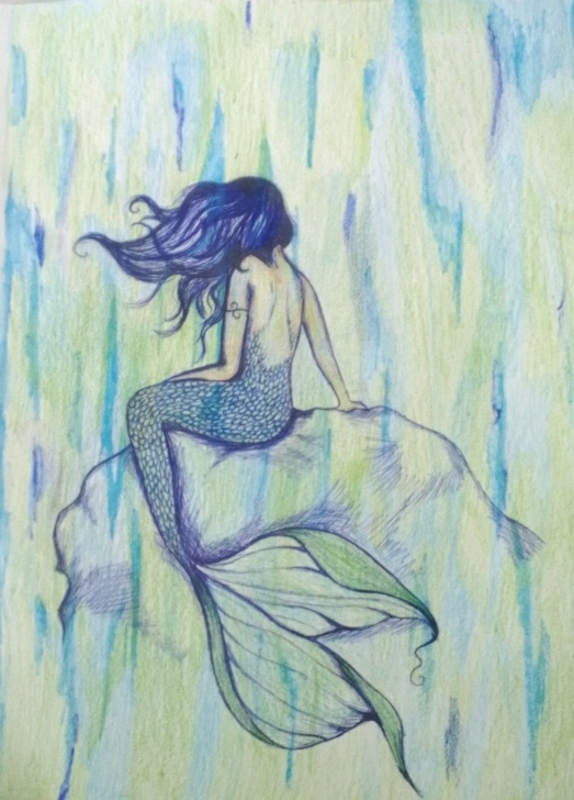 Remarkable Pen And Colored Pencil Drawings Courses Mermaid Colored Pencil And Pen | For My Lil Mermaid | Color Pencil Pic