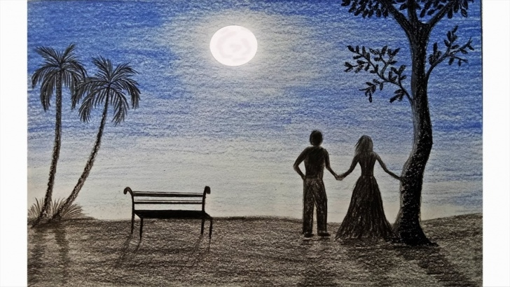 Remarkable Pencil Drawing Of Night Scene Tutorials How To Draw Moonlight Night Scene Step By Step (Very Easy) Photos