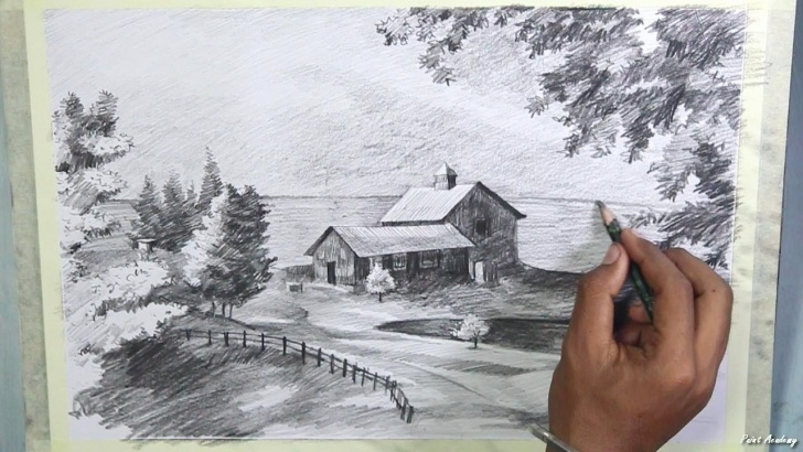 Remarkable Pencil Drawing Painting Lessons How To Draw A Beautiful Scenery In Pencil | Step By Step Pencil Drawing  Techniques Picture