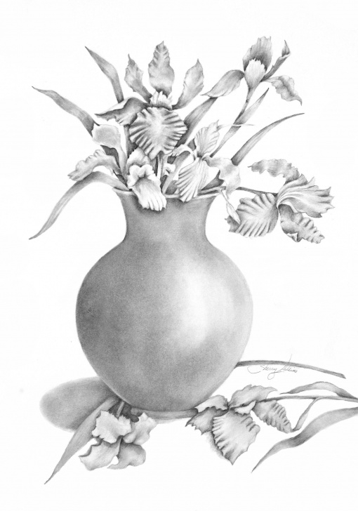 Remarkable Pencil Shading Flower Vase Simple Vase Of Irises Pencil Drawing Print In 2019 | Pencil Art | Pencil Image