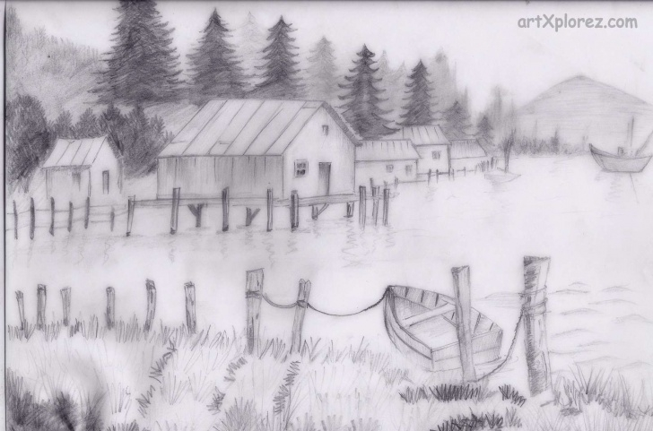 Remarkable Pencil Shading Landscape Techniques Country Side Art Pencil Shading | Country Scenes To Paint | Pencil Picture