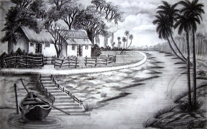 Remarkable Pencil Sketch Drawing Scenery Simple Pencil Sketches Of Nature At Paintingvalley | Explore Collection Pics