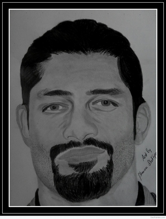 Remarkable Roman Reigns Pencil Drawing Free Pencil Sketch Of Roman Reigns | Desipainters Picture
