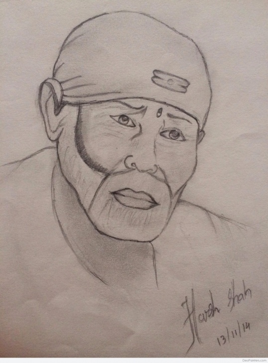 Remarkable Sai Baba Pencil Art Lessons Pencil Sketch Of Sai Baba | Desipainters Images