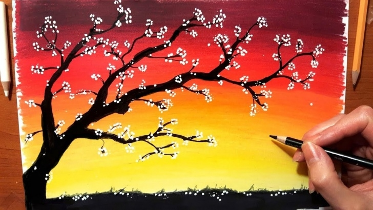 Remarkable Sunset With Colored Pencils Techniques for Beginners Landscape In Colored Pencil: How To Draw Sunset Drawing Nature Tree Sky  Scenery | Jasmina Susak Pictures