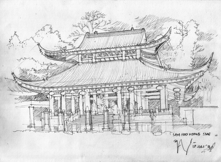 Remarkable Temple Pencil Sketch Simple Sam Poo Kong Temple Pencil Sketch | Sketch, Drawing & Watercolor Di Pic