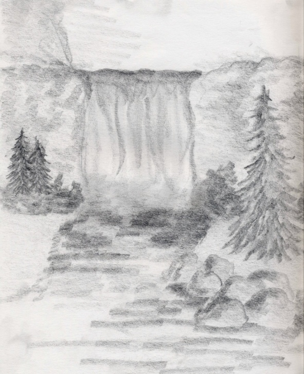 Remarkable Waterfall Pencil Sketch Courses Waterfall Pencil Sketch At Paintingvalley | Explore Collection Image