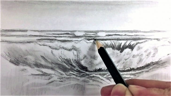 Remarkable Wave Pencil Drawing Tutorials Drawing Waves In Pencil How To Draw Sea Waves With Pencil Drawing Picture