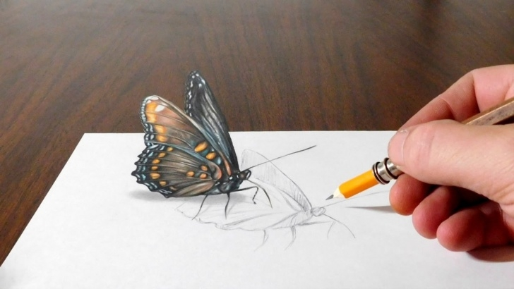 Stunning 3D Butterfly Drawings In Pencil Techniques for Beginners Drawing A Butterfly - Cool 3D Trick Art On Paper Picture