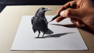 Stunning 3D Pencil Sketch Drawing Simple 3D Pencil Art Raven Drawing Pics