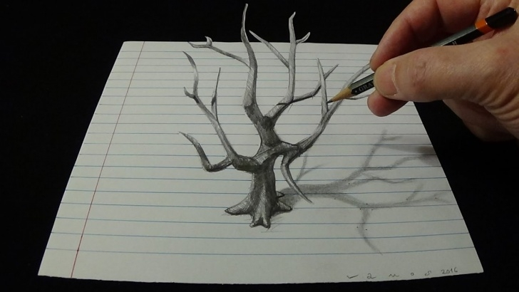 Stunning 3D Pencil Sketch Drawing Tutorial Art 3D Drawing Old Tree - How To Draw 3D Tree With Pencil Pics