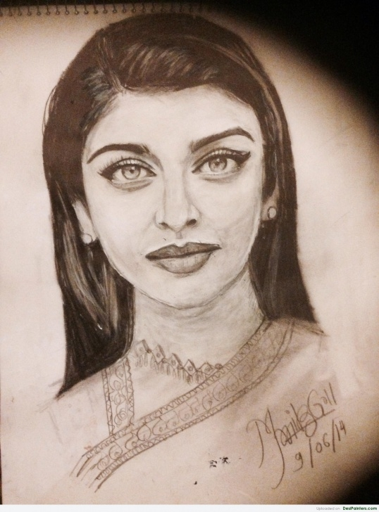 Stunning Aishwarya Rai Pencil Sketch Lessons Pencil Sketch Of Aishwarya Rai | Desipainters Images