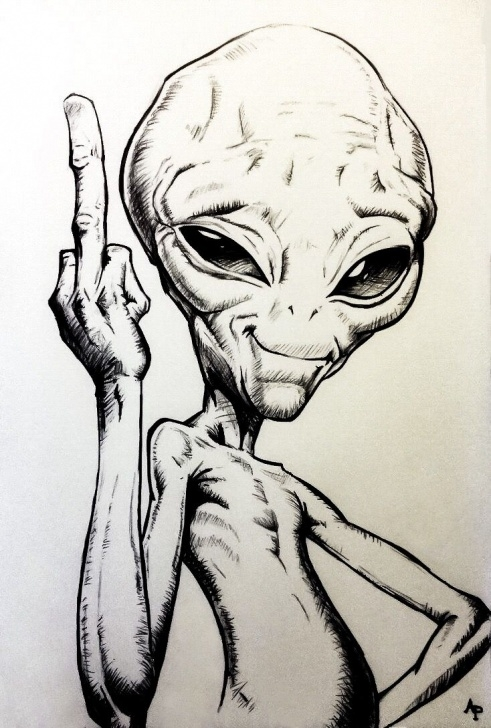 Stunning Alien Pencil Drawing Easy Alien | Sketching | Sketches, Pencil Drawings, Art Drawings Pics