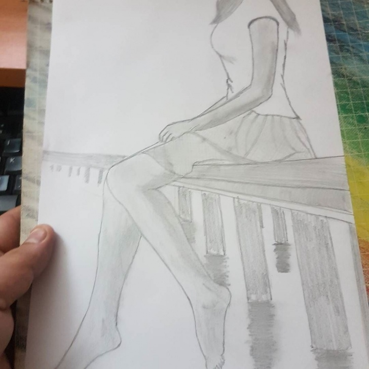 Stunning Alone Pencil Sketch Simple Wip #3 . . . . #pencil #sketch #girl #lonely #bridge #water Picture
