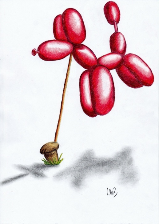 Stunning Balloon Pencil Drawing Easy Balloon Dog' Colour Pencil Drawing On Copy Paper. Watch The Step By Pic