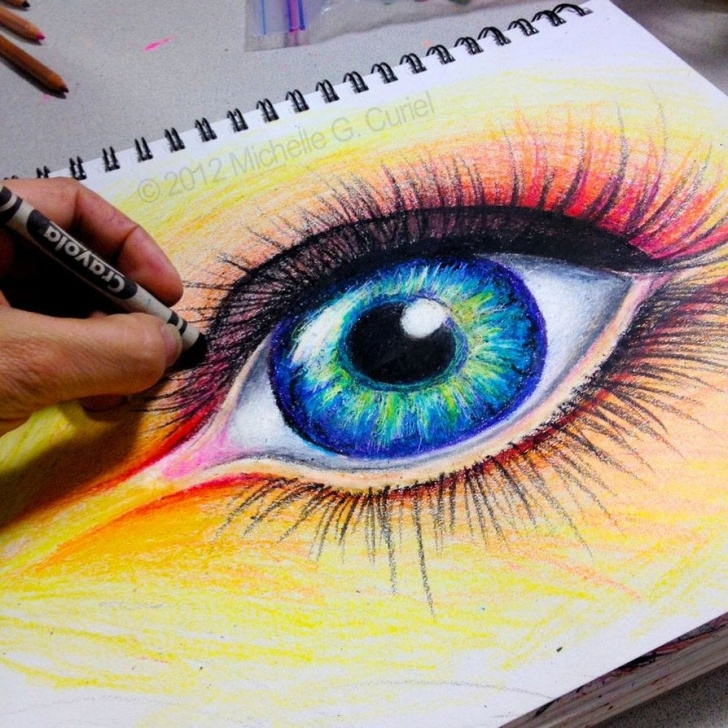 Stunning Beautiful Crayon Drawings Courses Beautiful #eye #crayon #drawing #art | Eventually Crafts | Crayon Photo