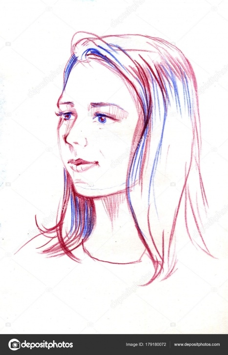 Stunning Beautiful Girl Face Sketch Free Drawing Portrait Of Young Woman. Female Face. Sketch Of Beautiful Pics