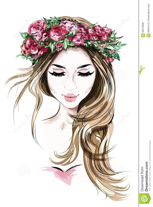 Stunning Beautiful Girl Sketch Ideas Hand Drawn Beautiful Young Woman In Flower Wreath. Cute Girl With Photo
