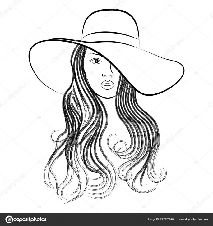 Stunning Beautiful Lady Sketch Ideas Vector Image Head Beautiful Girl Hat Pretty Brunette Sketch Lovely Images