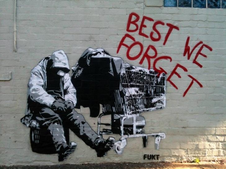 Stunning Best Stencil Art Lessons Best We Forget, Homeless Stencil In Camperdown, Sydney Nsw : Graffiti Image