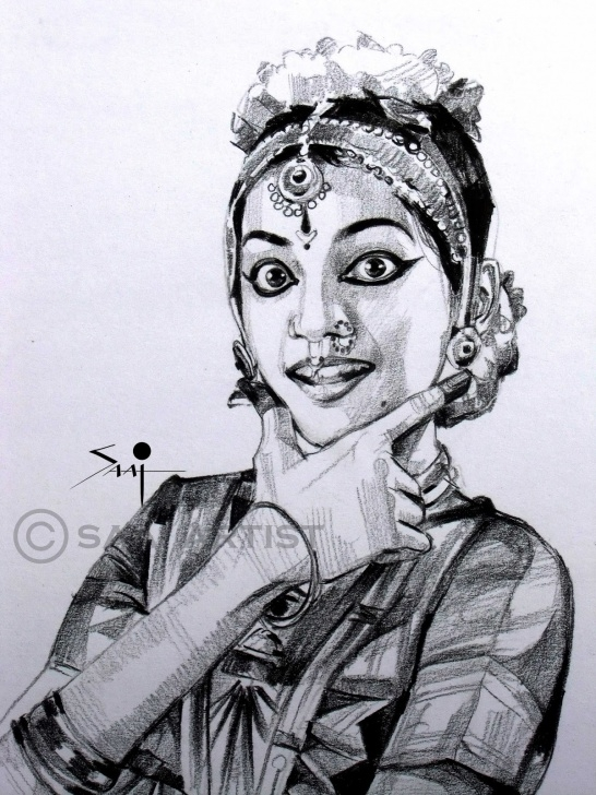 Stunning Bharatanatyam Pencil Sketches Simple Saai Artist: Bharatanatyam Pencil Sketch!! Picture