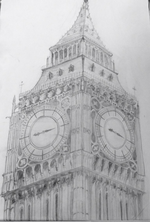 Stunning Big Ben Pencil Drawing Lessons Big Ben, London-Pencil Line Drawing | Dibujos | Pencil Drawings Images