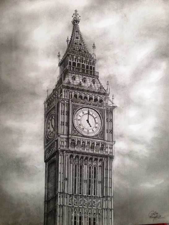Stunning Big Ben Pencil Drawing Techniques Pencil Sketch Clock Bell Tower And Big Ben - Pencil Drawing - Dreams Images