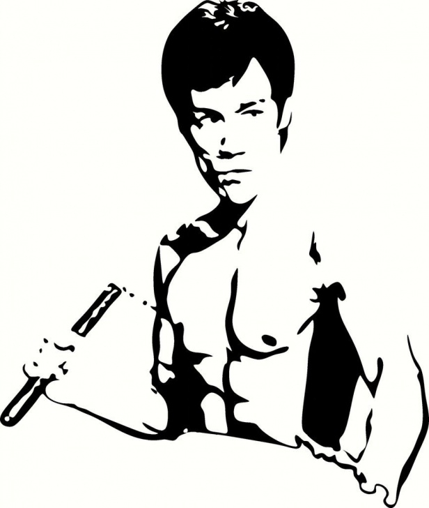 Stunning Bruce Lee Stencil Ideas Bruce Lee W/nunchucks Vinyl Decal Graphic - Choose Your Color And Pics